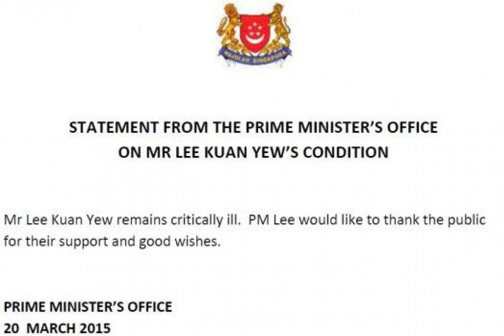 MASIH KRITIKAL: Kenyataan yang dikeluarkan sebentar tadi oleh Pejabat Perdana Menteri tentang keadaan Encik Lee Kuan Yew yang kini dirawat di Hospital Besar Singapura. - Foto