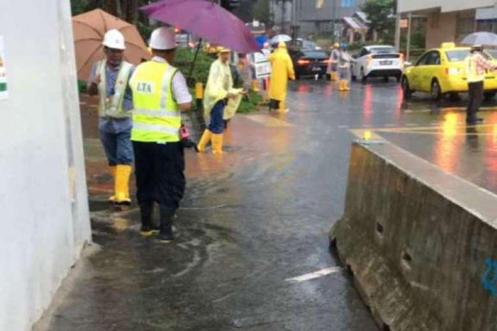 Banjir kilat berlaku di Maxwell Road ekoran hujan lebat pada pagi Isnin (Jan 23).
