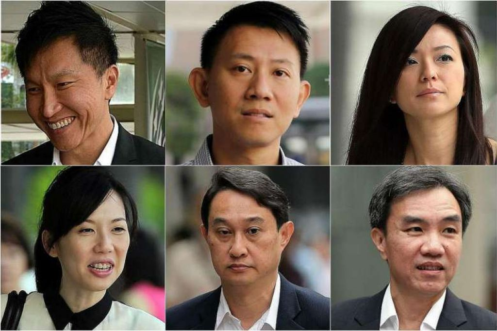 BAKAL KETAHUI NASIB: Ikut putaran jam, dari kiri Kong Hee, Tan Ye Peng, Serina Wee, John Lam, Chew Eng Han, Sharon Tan. - Foto THE STRAITS TIMES