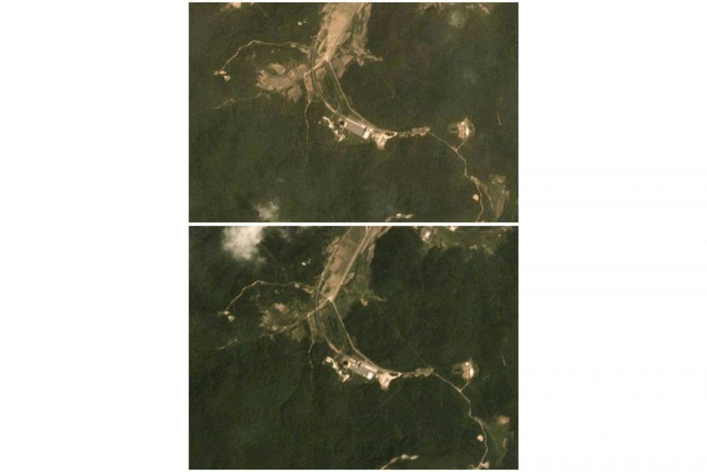 ADA KEMAJUAN: Dua gabungan imej satelit pada 22 Jun 2018 (gambar atas) dan 22 Julai 2018 (gambar bawah) menunjukkan kegiatan di tapak ujian Sohae di Korea Utara. - Foto REUTERS