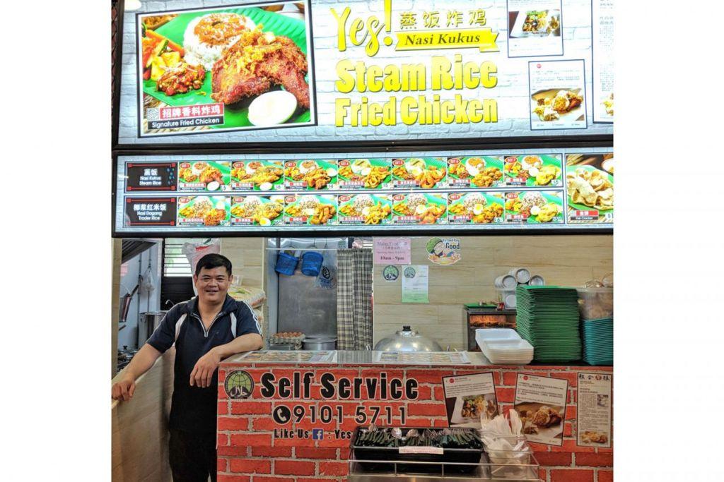 JUAL MAKANAN KELANTAN HALAL: Gerai makanan Encik Chu adalah satu-satunya di Singapura yang menyajikan makanan asli Kelantan seperti nasi kukus dan nasi dagang. - Foto BH oleh ZULAIQAH ABDUL RAHIM