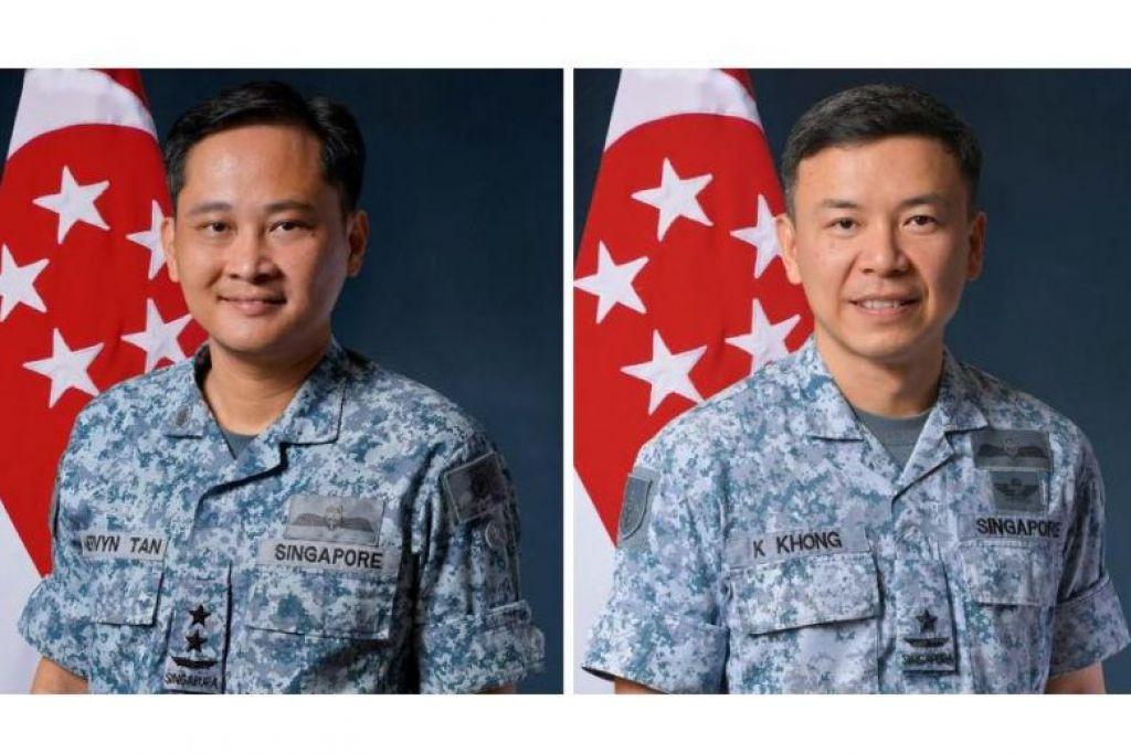 MG Mervyn Tan (kiri) akan digantikan oleh BG Kelvin Kong sebagai Panglima Tentera Udara.