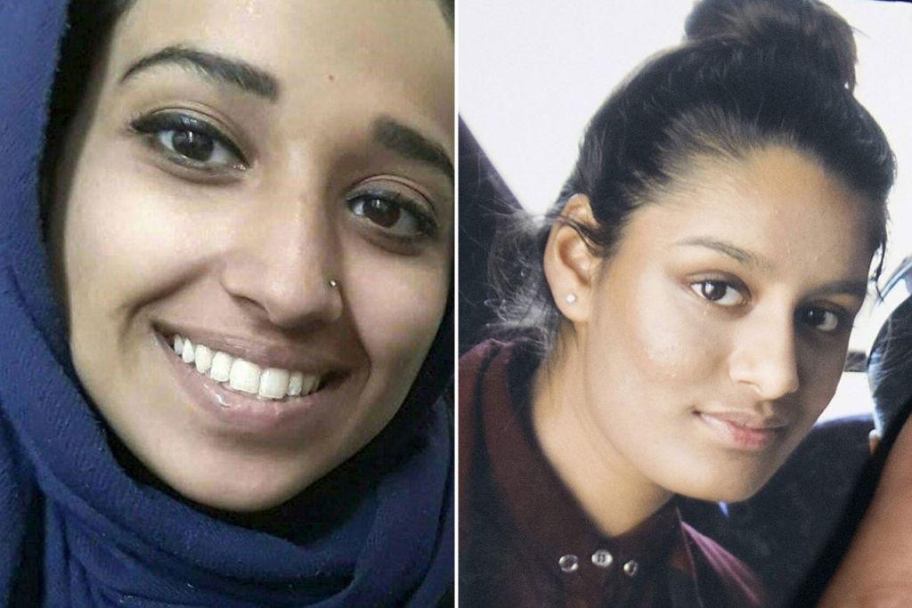(Kiri) HODA: Mengaku sombong waktu dalam ISIS dan menggesa tindakan ganas. (Kanan)  SHARMIMA: Mahu pulang ke London untuk melindungi anaknya.
