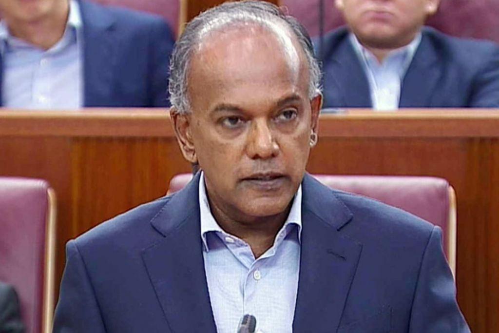 BUAT KENYATAAN MENTERI: Encik K. Shanmugam, antara lain menarik perhatian risiko besar serta garis sesar dan keganasan yang boleh timbul akibat ucapan kebencian dan ofensif. - Foto GOV.SG