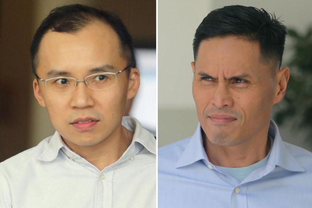 DIDAKWA MAIN PERANAN: Dua pegawai SCDF, Kenneth Chong (kiri) dan Nazhan, kedua-duanya didakwa terlibat dalam kes kematian Koperal Kok.