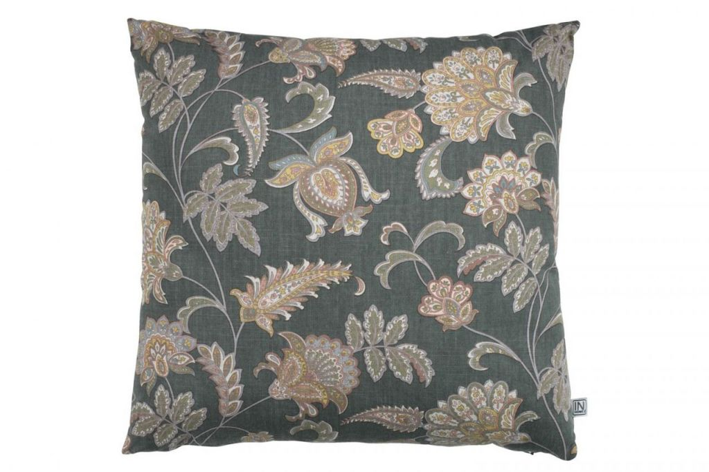 'ENGBLOMME CUSHION FLOWER OLIVE GREEN'